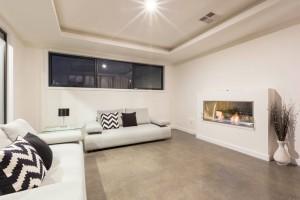 Harrison house living area fireplace
