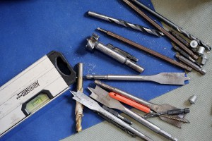 tools on blue desk